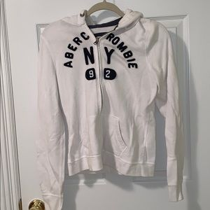 Abercrombie Branded White Zipup Hoodie